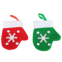 12 Pcs / Lot Mini gloves Hangings Ornament Decor Pendants Christmas Tree Baubles Santa Decoration xmas stocking Gift natal