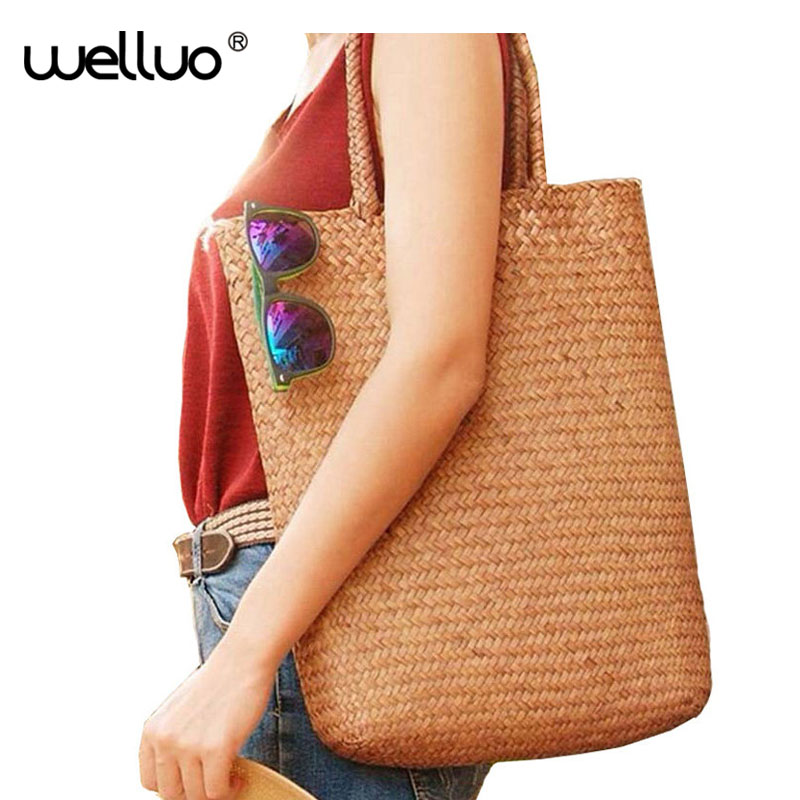 Summer Beach Bag Straw Weaved Casual Tote Shopping Handbags Women Travel Tourist Storage Bag Shoulder Bag Sac a Main XA1027B beach straw bags women appliques beach bag snakeskin handbags summer 2017 vintage python pattern crossbody bag