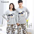 Pijamas Pareja de manga Larga ropa de Dormir Pijamas de Algodón de Los Hombres Amor pijama Conjunto