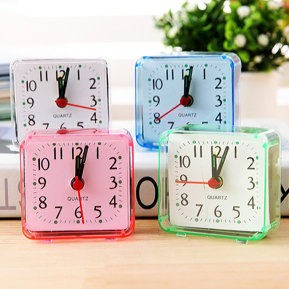 Modern Square Watch Alarm Clock Bedroom Desktop Bed Wake Up Clocks Plastic Silent Sweeping Small Digital Clock