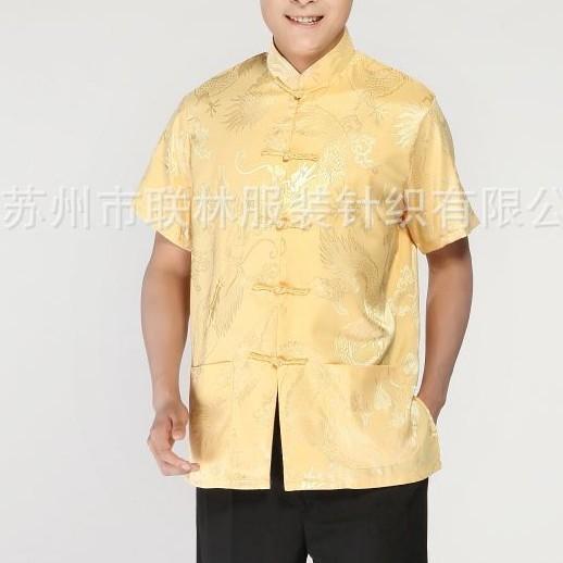 Venta al por mayor del verano oro tradición chino hombres de seda Kung-Fu camisa de la tapa con el dragón sml XL XXL XXXL YF1175