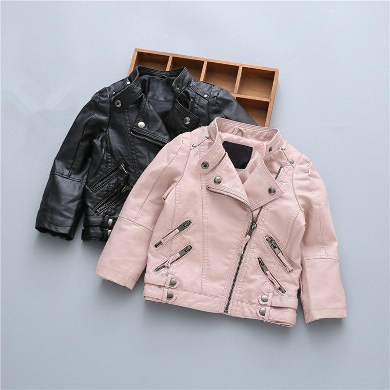 купить Solid Windproof Boys Girls Jacket Soft PU Leather Autumn Zipper Coat for Fashion Children Outerwear Black Pink Kids Jackets по цене 1895.26 рублей