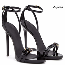 Aiyoway 2019 Women Shoes Peep Toe High Heels Sandals Ankle Buckle Straps Spring Summer Ladies Party Clubwear Shoes Black 2019 aiyoway spring summer women shoes high heels platform sandals ankle buckle strap ladies party dress shoes black