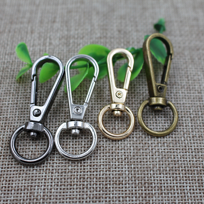 20PCS /SET Gold Silver Bronze Swivel Lobster Clasp Clips Key Hook Keychain Split Key Ring Findings Clasps For Keychains Making