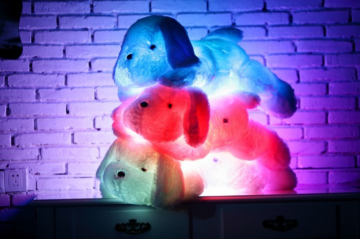 35/50 cm Kawaii Bercahaya Teddy Dog Plush Doll Toys Colorful LED - Boneka dan mainan lunak - Foto 3