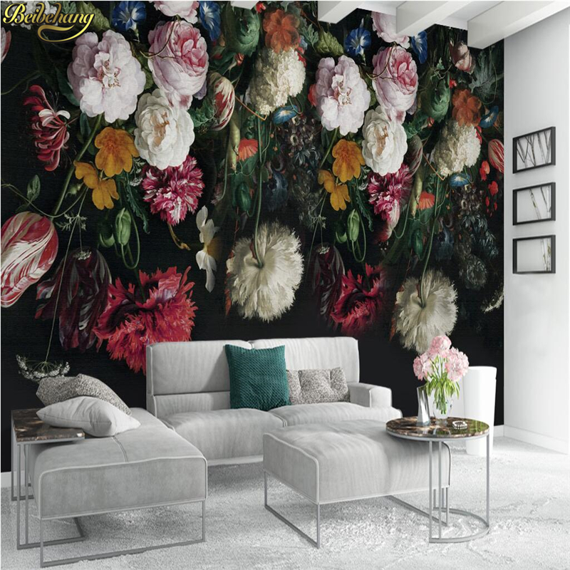 Beibehang Black TV Backdrop Papel De Parede 3d Floral Wallpaper For Walls 3 D Photo Mural Wall Papers Home Decor Living Room