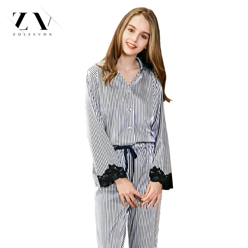 Silk sleepwear female lace ladies nightgown spring pajamas sets woman's wear lingerie appa
