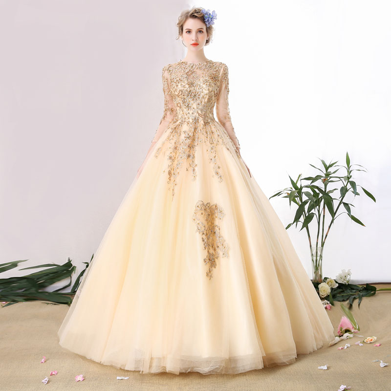 82c4ab78d7a9 100%real champagne gold embroidery beading theme court ball gown medieval  dress Renaissance queen Victorian gown Belle Ball