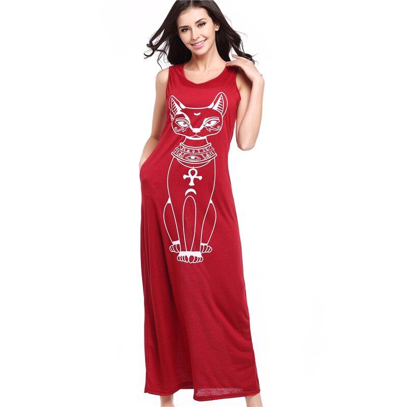 Casual Long Dress Cat Cartoon Pocket 2018 Summer Dress Women Straight Sleeveless Dresses O-Neck Loose Tank Dress Red Black Gray