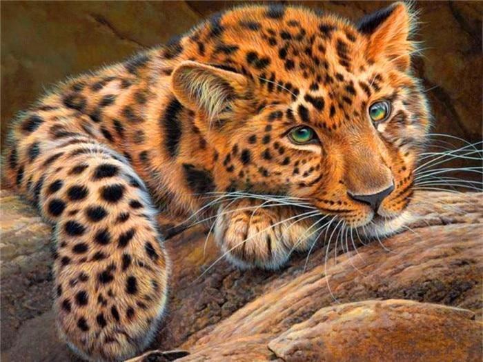 Neue Mosaik voller Diamant Malerei Stickerei Perlen Leopard in Holz - Kunst, Handwerk und Nähen