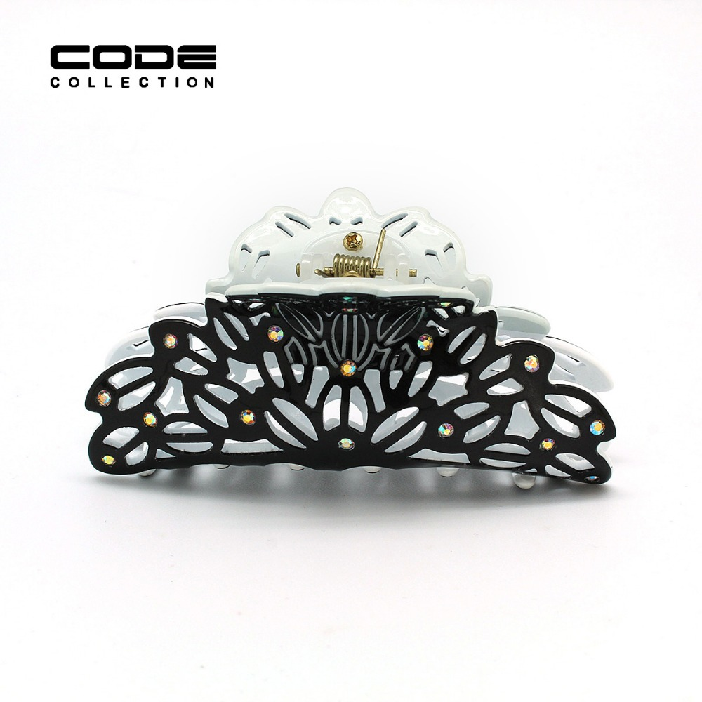 Luxury Brand Cutout Hair Claw for Women Fashion Big Acrylic Hair Clips with Colorful Rhinestone Decoration Accessories A73 A75 in Women 39 s Hair Accessories from Apparel Accessories