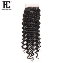 HC Hair Products Brazilian Remy Deep Wave Human Hair Lace Closure With Baby Hair Free Part 130% Density 8-18inch Natural Color