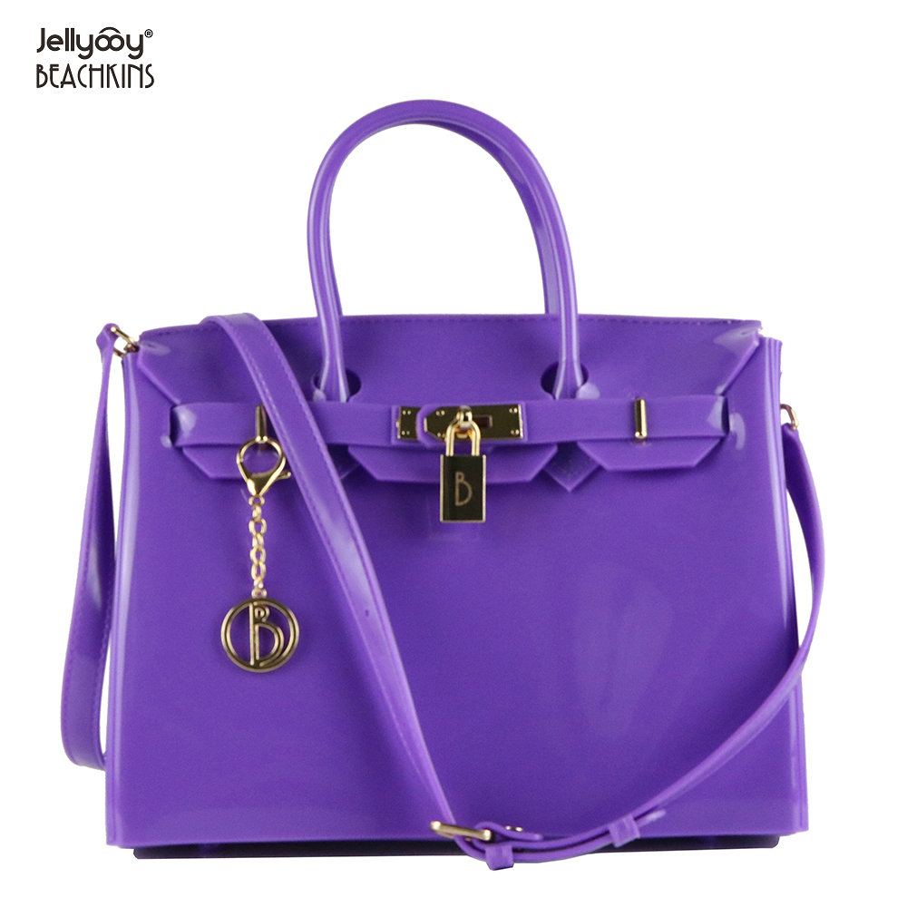 a79f9d0933 Jellyooy Women s Padlock Flap Cover   Zipper Classic Luxury Handbags Glossy Jelly  Beachkin Bags PVC Waterproof Beach Bag