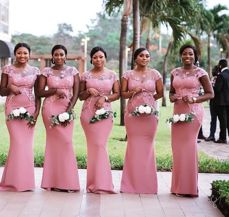 Vestido De Festa Longo African Illusion Neck Mermaid Pink Bridemaid Dresses Lace Appliqued Prom Dresses Formal Party Gowns