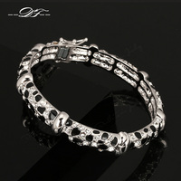 2014New Anti Allergy Luxury Leopard Bracelets Bangles Platinum Plated Fashion Crystal Party Jewelry For Women Pulseiras