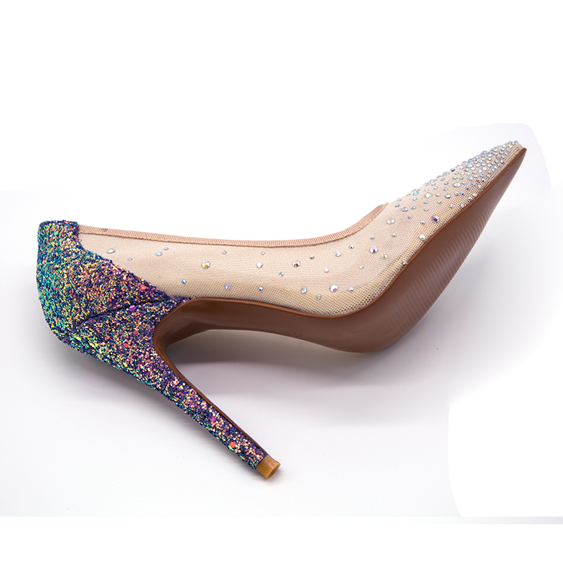 2019 Summer fashionable wedding shoes with a height of 11cm and a mesh cloth with a colorful sparkling water drill combined with in Women 39 s Pumps from Shoes