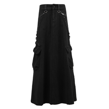 Punk Gothic Female Long Skirts Women's  High Waist Summer Denim Skirt Ankle-length New  A-line Suede Skirts With Pockets Q-224