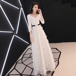 Image 2 - weiyin White Long Sleeves Backless A line V neck Zipper Lace Party Frocks Dresses Floor Length Evening Dresses WY1337