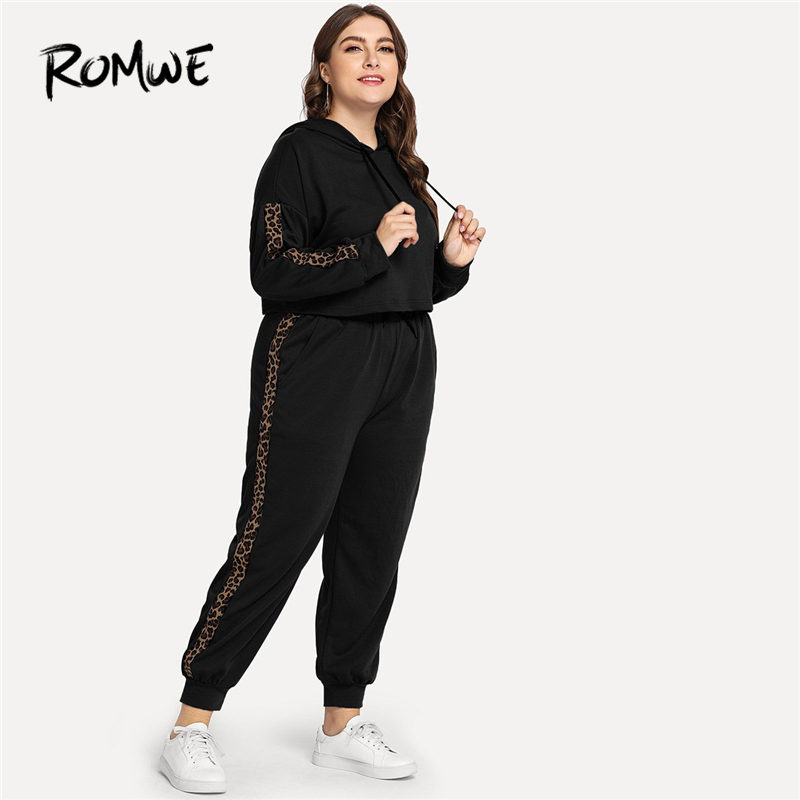 Romwe Sport Plus Size Black Leopard Print Hooded Sport Suit Women Workout  Running Set 2018 Autumn Gym Fitness Training Clothes-in Running Sets from  Sports ... 1295e8c84a0b
