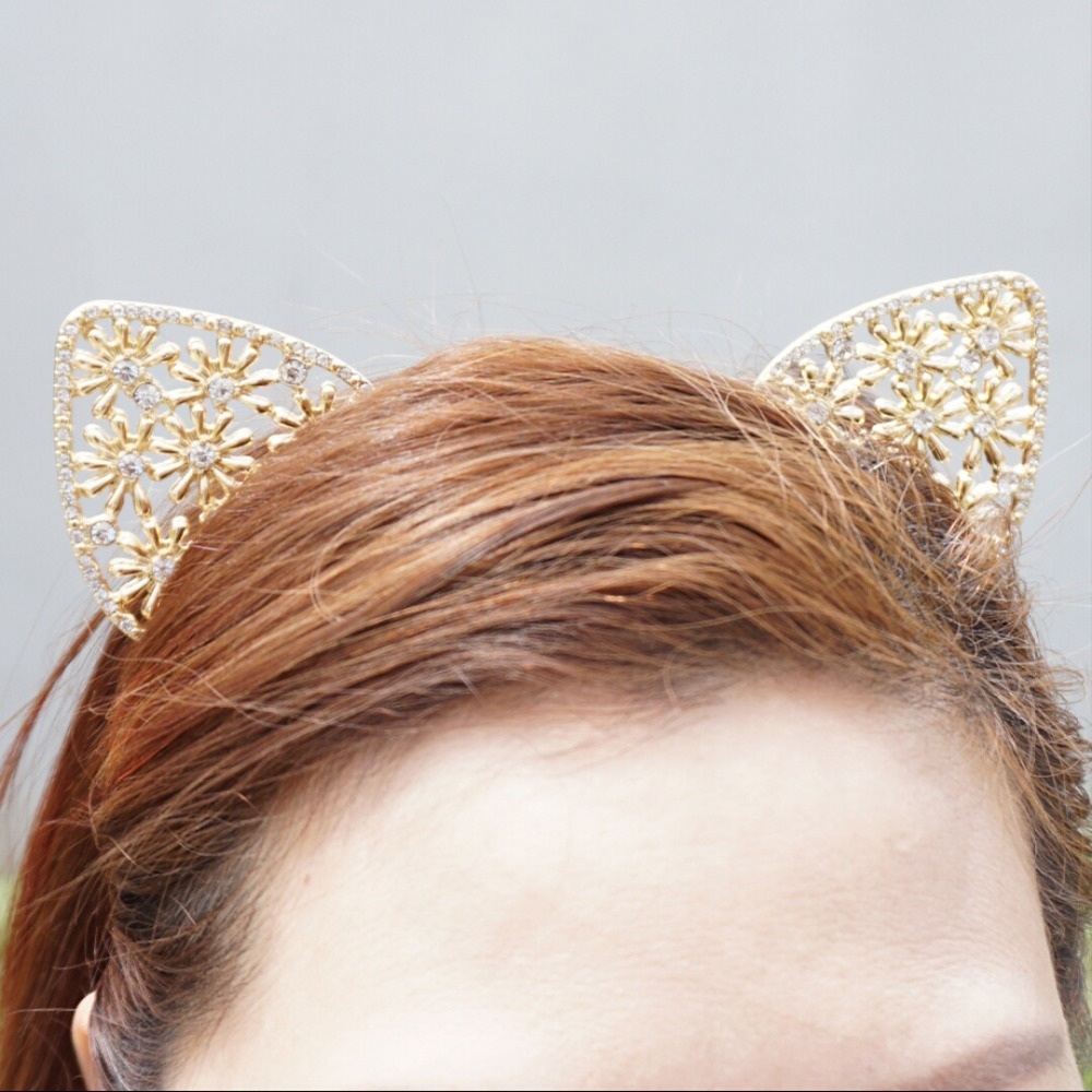 Aliexpress buy fashion flower crown golden metal girls crystal aliexpress buy fashion flower crown golden metal girls crystal cat ear headband from reliable fashion crown suppliers on ccustom snap jewellery izmirmasajfo