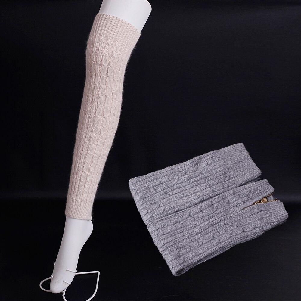 2016 Winter Zipper open Wool knitting Leg Warmers for Women Super soft wool boots socks Solid colors wool Long knee socks