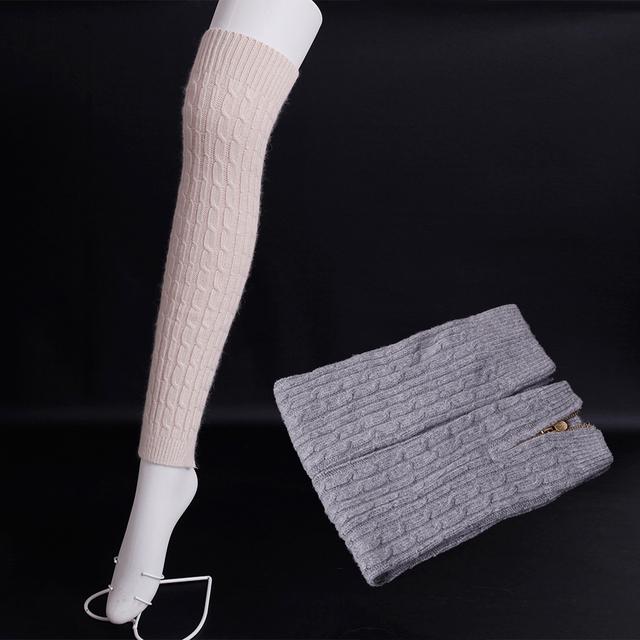 2016 Zipper Inverno Lã De tricô Polainas para As Mulheres aberto botas de lã Super macia meias de cores Sólidas lã Longa na altura do joelho meias