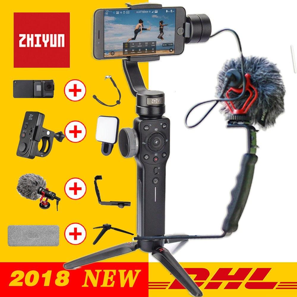 Zhiyun stabilisateur de cardan de poche lisse 4 3 axes pour Smartphone caméra d'action téléphone Portable iPhone X Gopro Hero sjcam