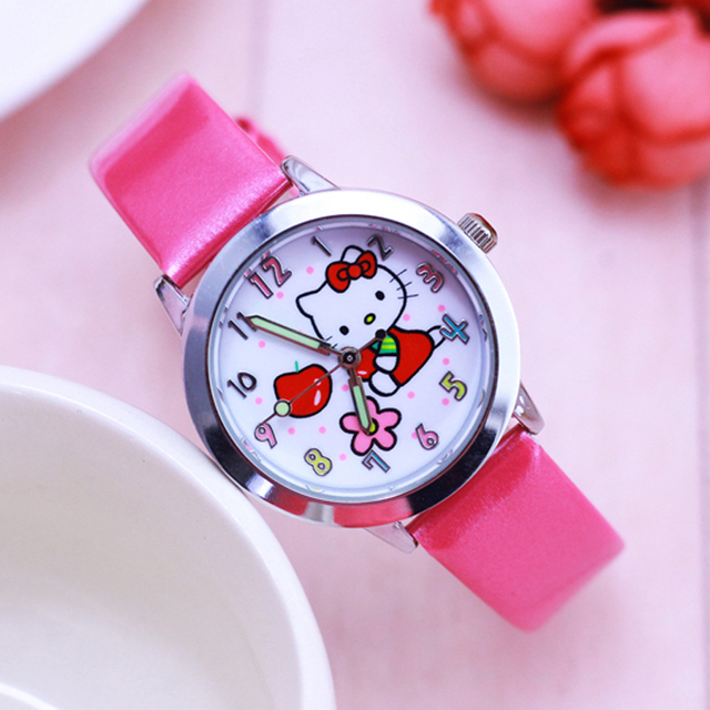 2018 new children girls cute Hello Kitty small cat electronic wristwatches kids