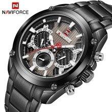 Marca de lujo superior NAVIFORCE, Reloj clásico de cuarzo deportivo negro, moda para hombres, relojes de exhibición semanal de acero completo, reloj Masculino