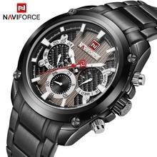 יוקרה למעלה מותג NAVIFORCE קלאסי שחור ספורט קוורץ שעון גברים אופנה Mens מלא פלדה שבוע תצוגת שעונים Relogio Masculino