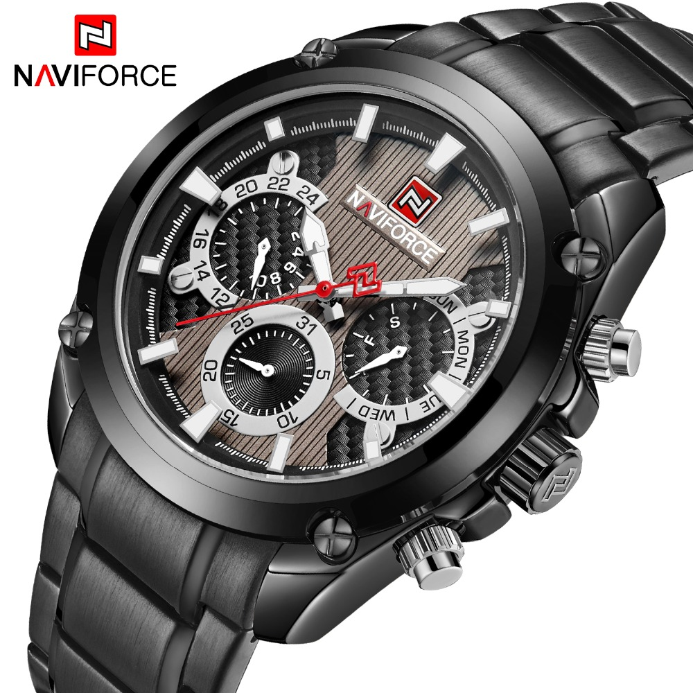 Top Luxury Brand NAVIFORCE Classic Black Sport Quartz Watch Men Fashion Mens Full Steel Week Display Watches Relogio Masculino vinoce mens watches top brand luxury high quality full steel quartz watch classic men fashion male clocks relogios masculino page 3