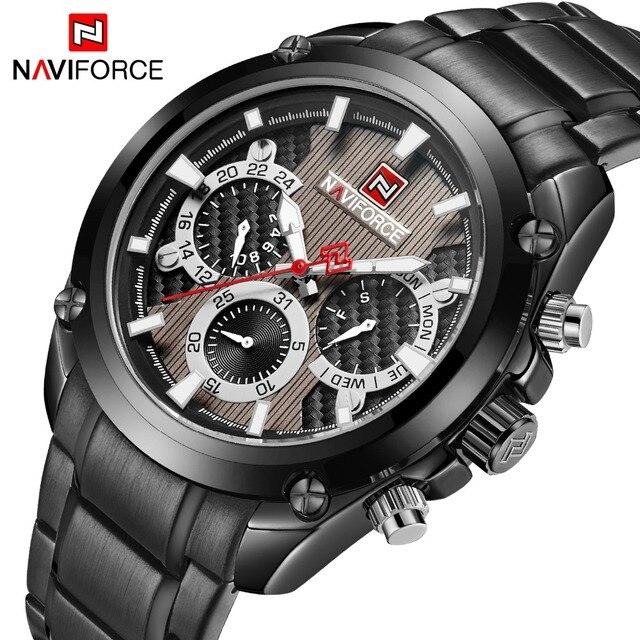 94450213a68 Top de Luxo Da Marca NAVIFORCE Clássico Preto Homens Esporte Relógio de  Quartzo Moda Dos Homens