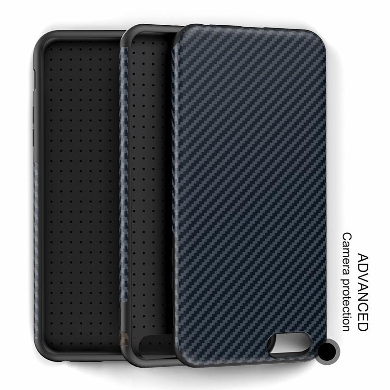 Najnowszy środowiska carbon fiber case dla iphone 6 6s plus miękkie antypoślizgowa anti-puk pokrywy dla iphone 7/plus skóra skóra torba 19