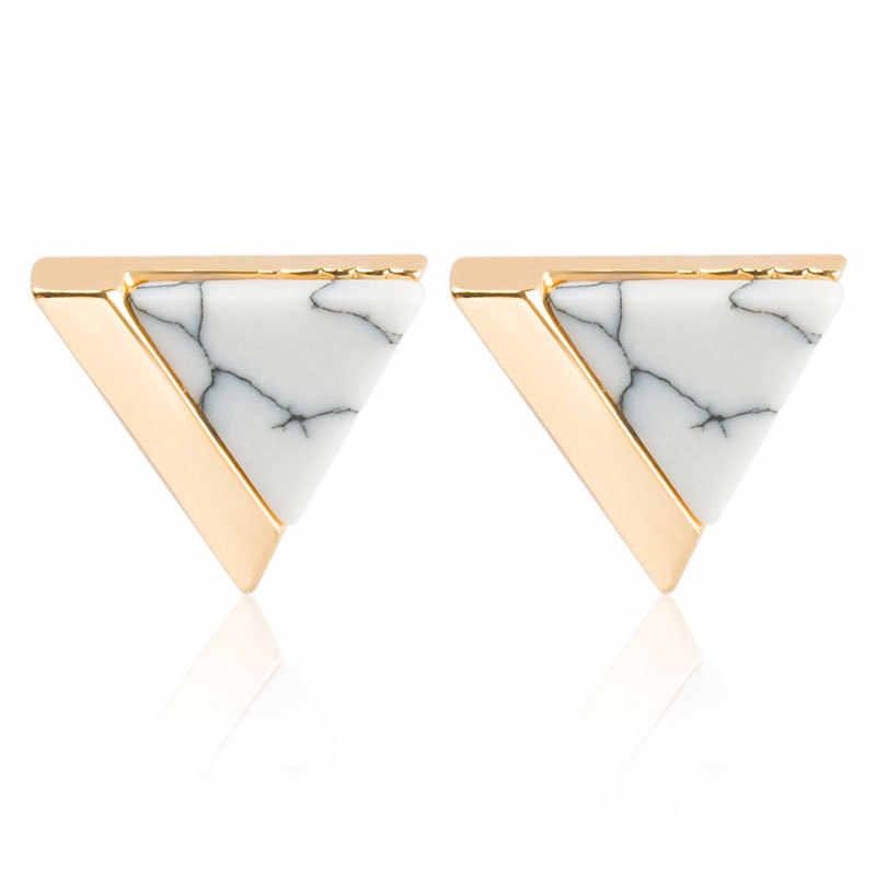 جديد أحجار بيضاء طبيعية خضراء الملكيت الذهب Howlite مربع مثلث دائري الهندسة وأقراط للنساء الأذن مجوهرات بيجو
