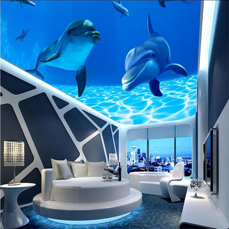 Photo wallpaper 3d ocean sea water dolphin ceiling mount for Dolphin mural wallpaper