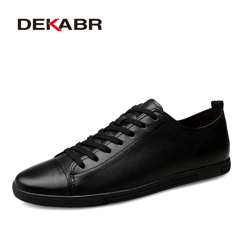 DEKABR Genuínos de Couro Sapatos Casuais Homens Moda Sapatos Respirável Dos Homens Confortáveis Sapatos de Couro Real Lace-up Mocassins tamanho 36 ~ 47