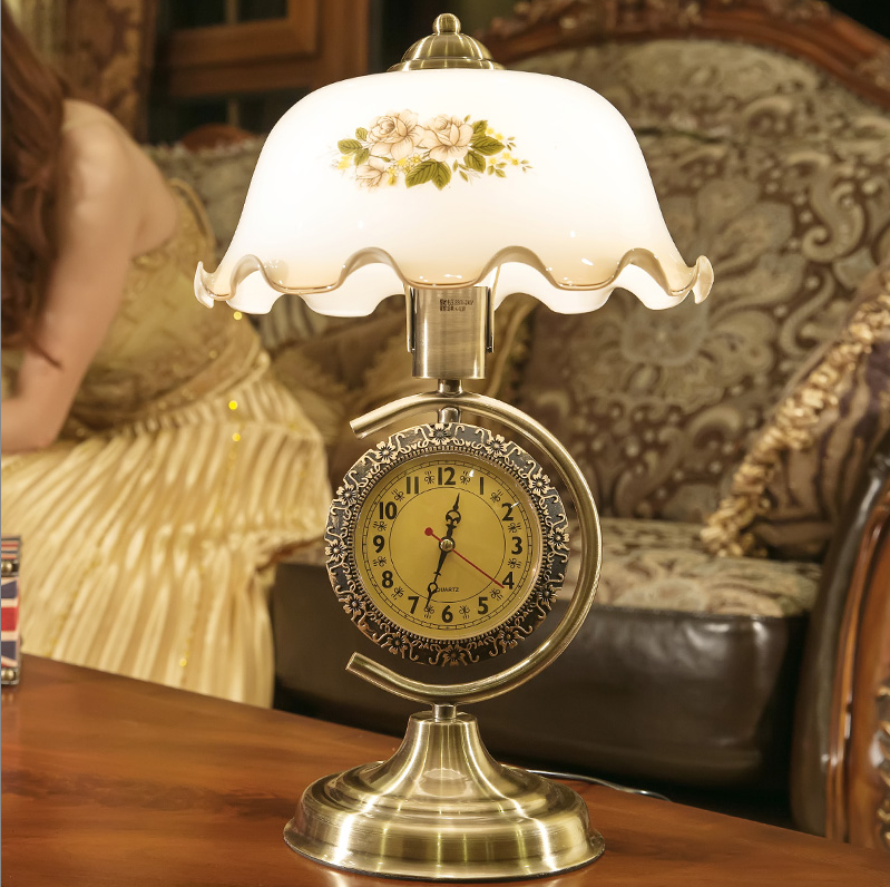 Led Table Lamps Aspiring American Retro Hand-drawn Camellia Glass Table Lamps Classic Clock E27 Led Dimming Lamp For Bedside&narrow Table Zltd006