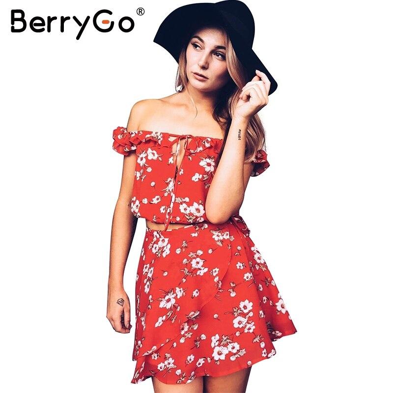 BerryGo Two piece red chiffon summer dress women 2017