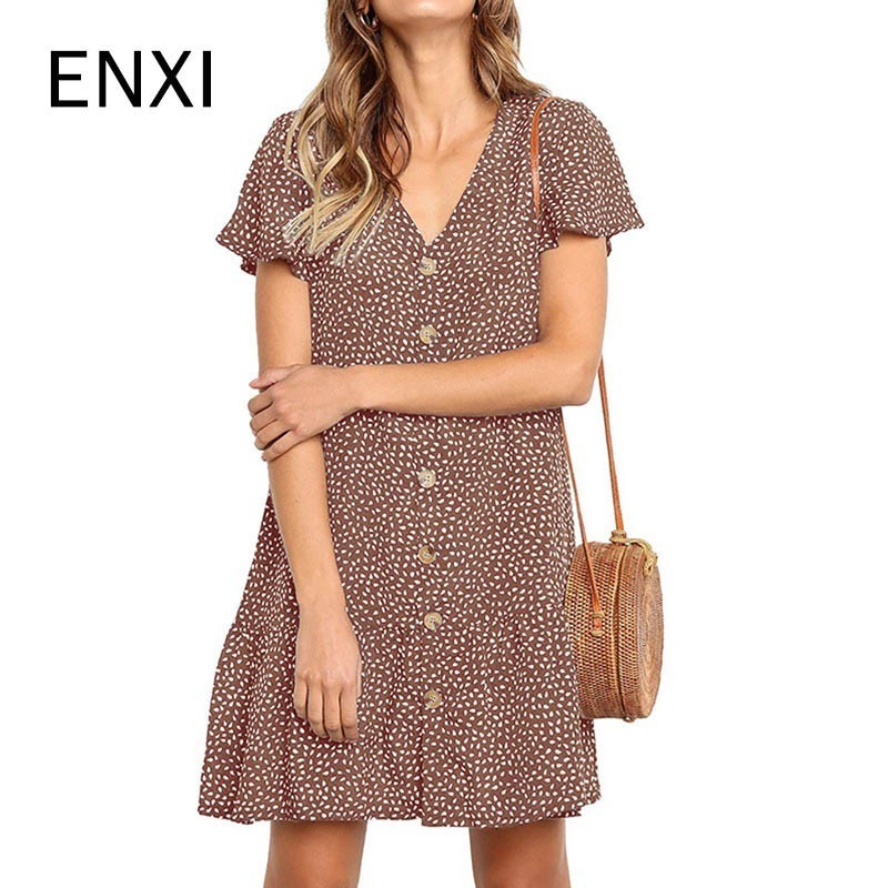 ENXI 2019 Maternity Dresses Button Pregnancy Dress Printing Short Sleeve Ruffles Short Skirt Nice And Cool
