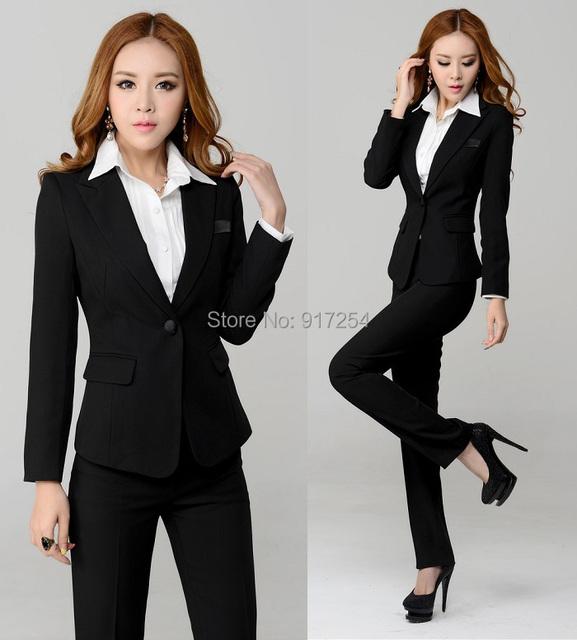 Novo de forma magro 2015 outono inverno Ladies trabalho desgaste calças profissionais define mulheres escritório casacos Set terno de negócio terninhos