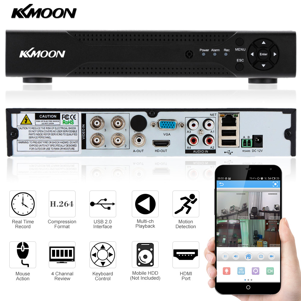 imágenes para KKmoon 4CH AHD Dvr 720 P 960 H Red DVR de 4 Canales H.264 CCTV 4CH DVR HVR NVR P2P Sistema de Grabadora de Vídeo Digital