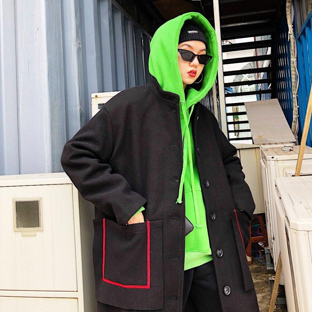 Couture Noir rangée Marque Nouveau Laine Tissu 2008 Lady Et Survêtement Lâche pourpre Bouton Pardessus Longue Hiver Chao Unique Mélanges Poche FSfvqwFUx