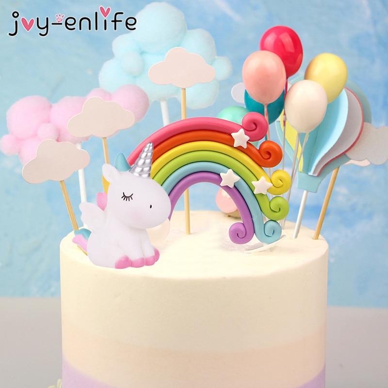 Arco Iris unicornio pastel Topper nube pastel banderas cumpleaños niños favores pastel decoración Cupcake Topper para boda postre Mesa Decoración
