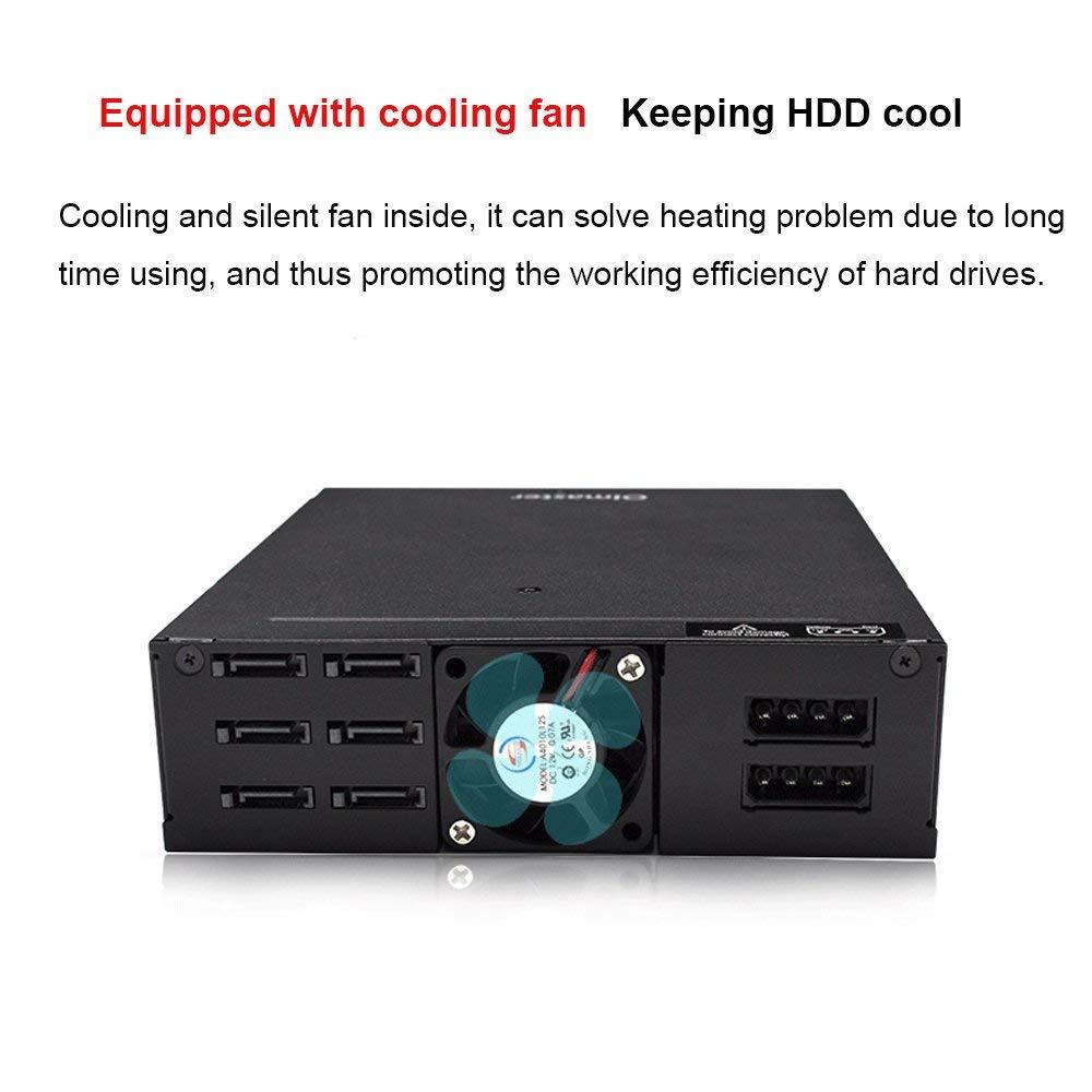 6 baies 2.5 pouces SATA SSD HDD Hot Swap support Mobile/boîtier disque dur boîtier Rack stockage de données pour 5.25 lecteur baie - 4