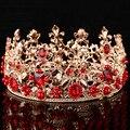 Bridal Red Simulated Pearl Leaf Tiaras Hair Jewelry Wedding Accessories Novia Casamento Acessorios Para Mulher