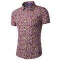 Nova Moda da Cor do Contraste Homens Colarinho Da Camisa de Manga Curta Slim Fit Camisa Homens Camisas De Grife de Alta Qualidade Boas Roupas 16C601