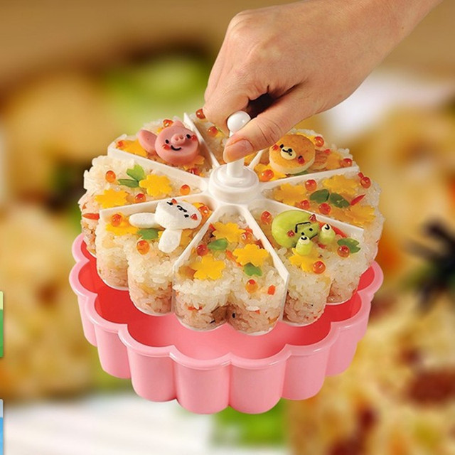 Creative Sushi Mold Maker 1 Sushi Mold + 1 Sushi Divider +1 Sushi Shovel Kitchen Kit Bento Accessories K0112