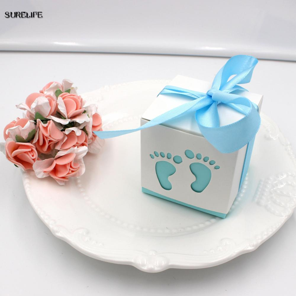 50pcs Baby Footprint Laser Cut Out Candy Box Baby Shower Favors Gift ...