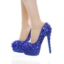 Королевский Синий Горный Хрусталь Платье Невесты Обувь Супер Высокий Каблук Свадьба Пром Обувь Синий Кристалл Рождественский Вечер Насосы Женская Обувь