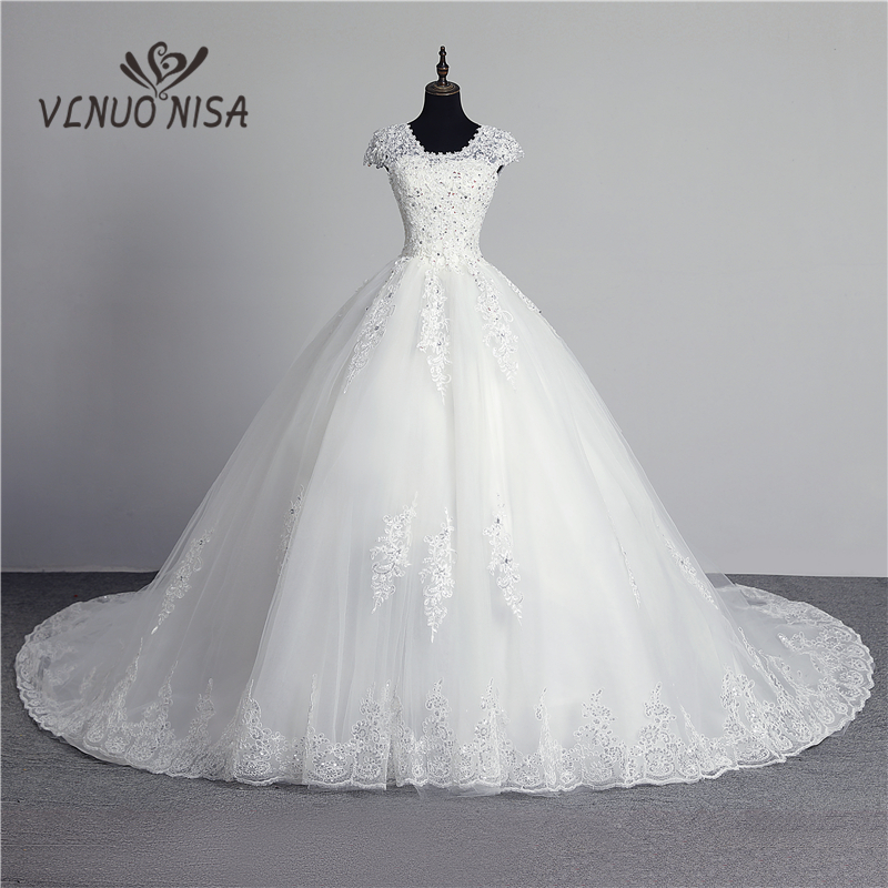 100% Real Photo In Stock Fashion Lace Flower Sweetheart Off White Sexy Muslim Wedding Dress For Brides Vintage Applique Sequined